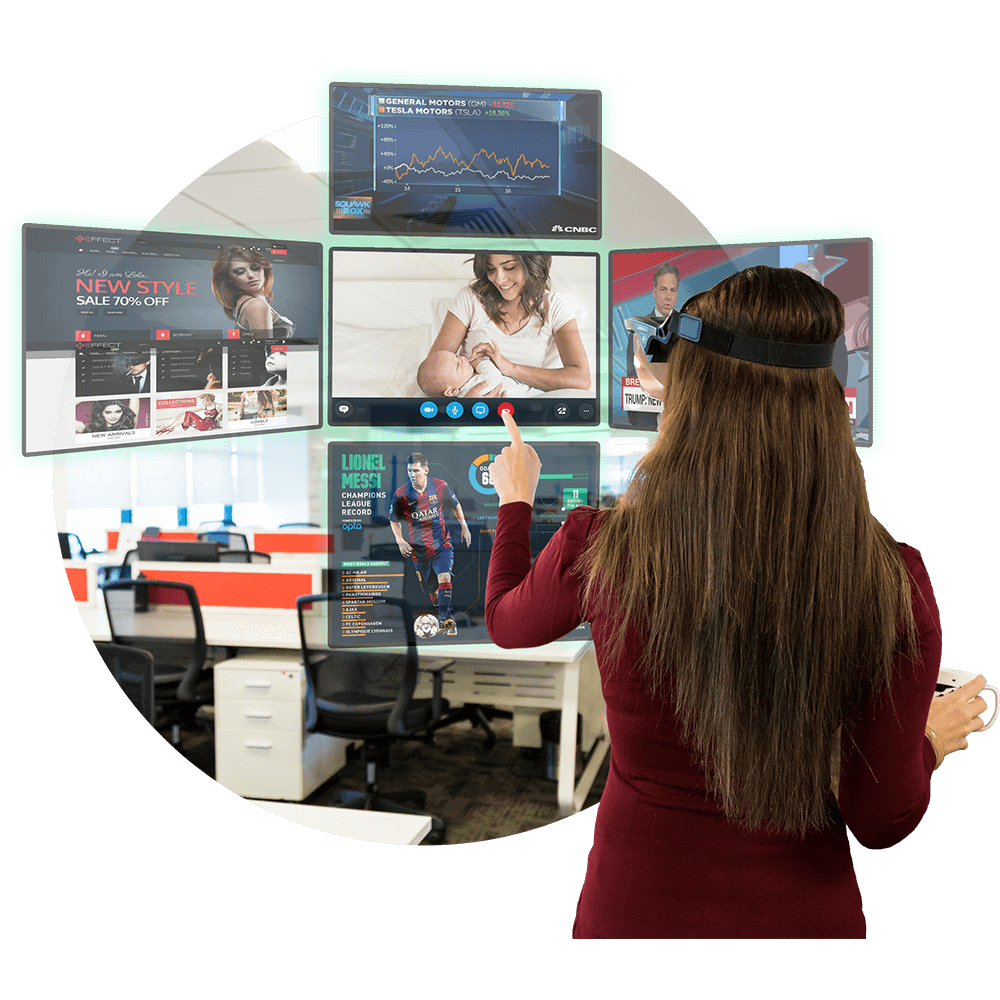 Open multiple screens around you or watch videos using Holoboard Augmented Reality Headset
